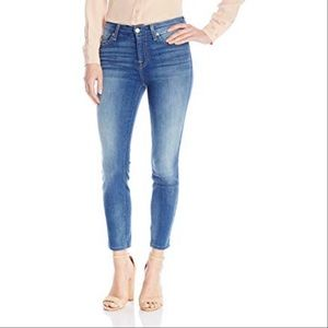 7FAM crop straight leg jean in medium wash